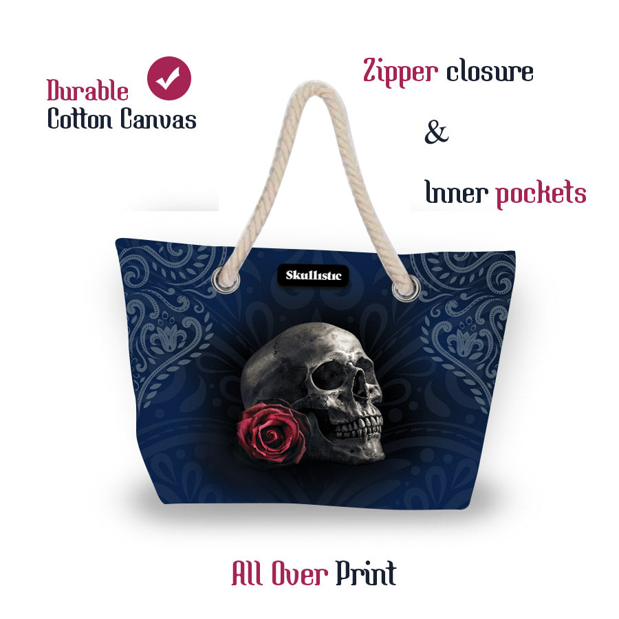 Skullistic Rose Skull Beach Bag