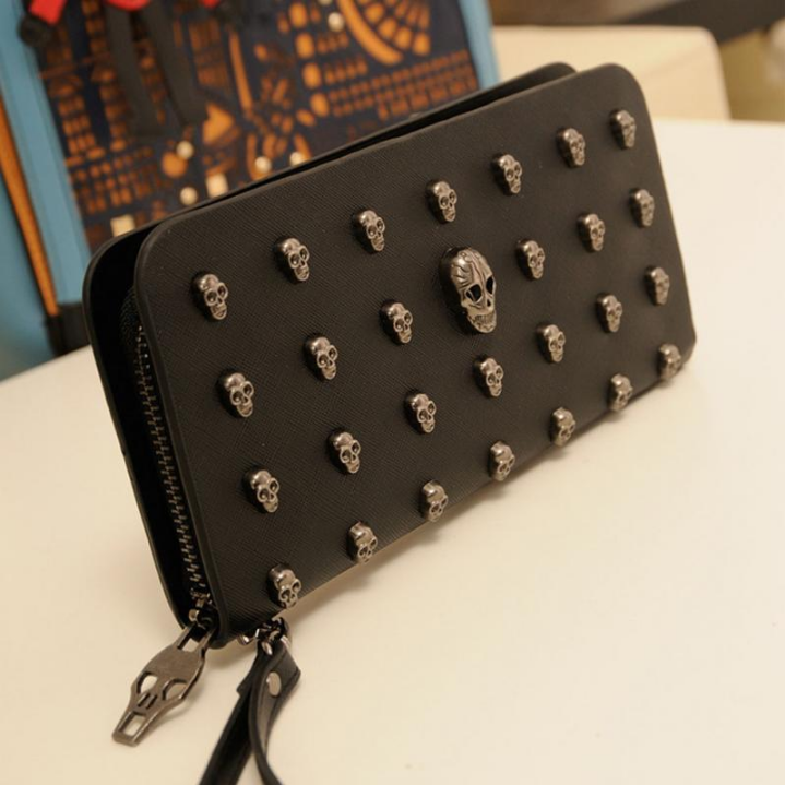 Skulls Black Pu Leather Purse