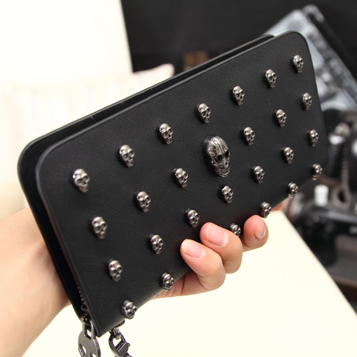 Skulls Leather Purse Black