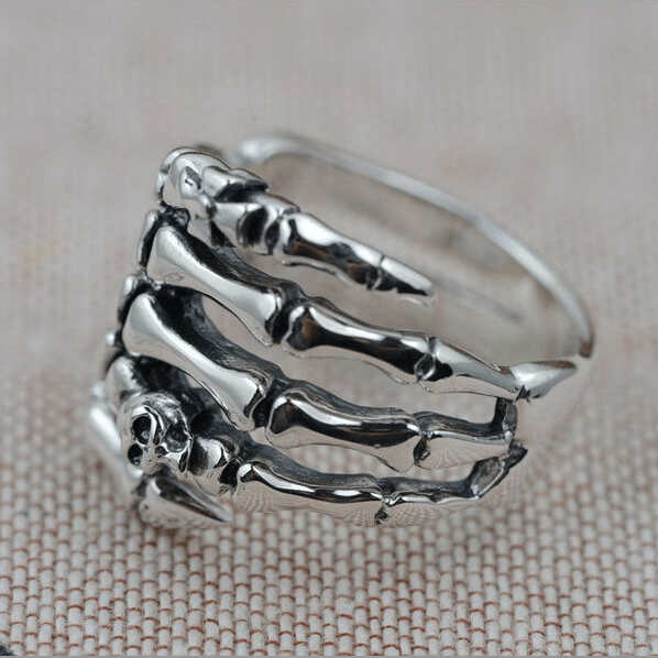 Sterling Silver Skull Hand Ring front