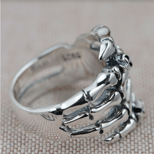 Sterling Silver Skull Hand Ring side
