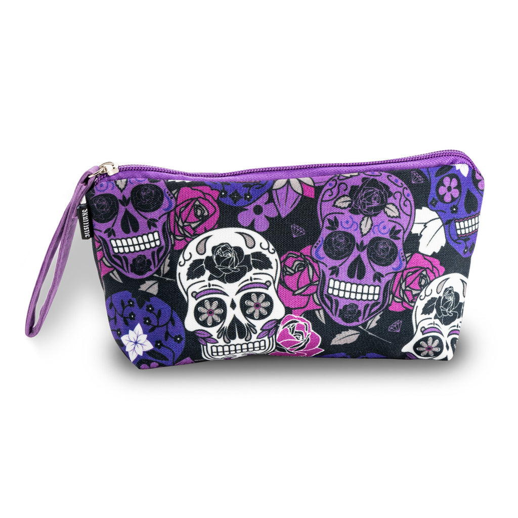 Sugar Skull Purple Makeup Bag