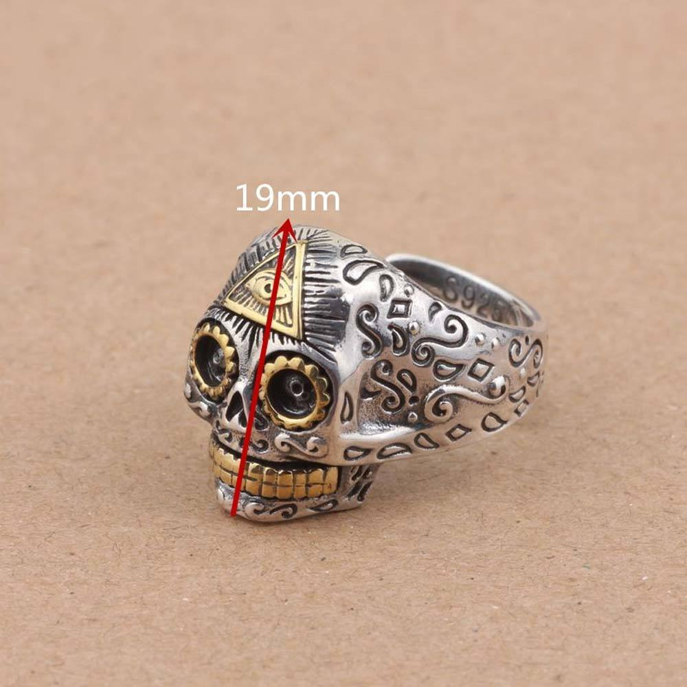 925 Sterling Silver Sugar Skull Ring with Eye of Providence