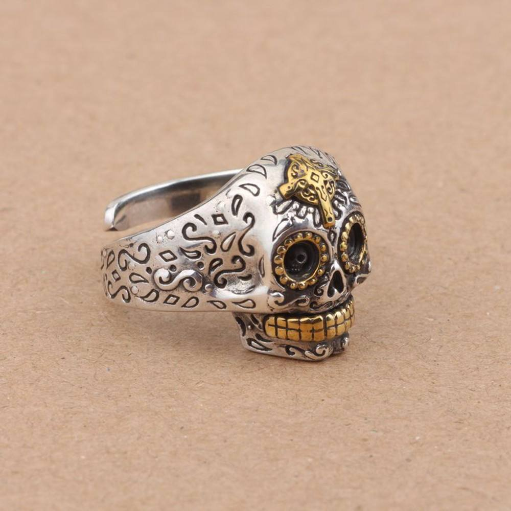 925 Sterling Silver Sugar Skull Ring with Cross