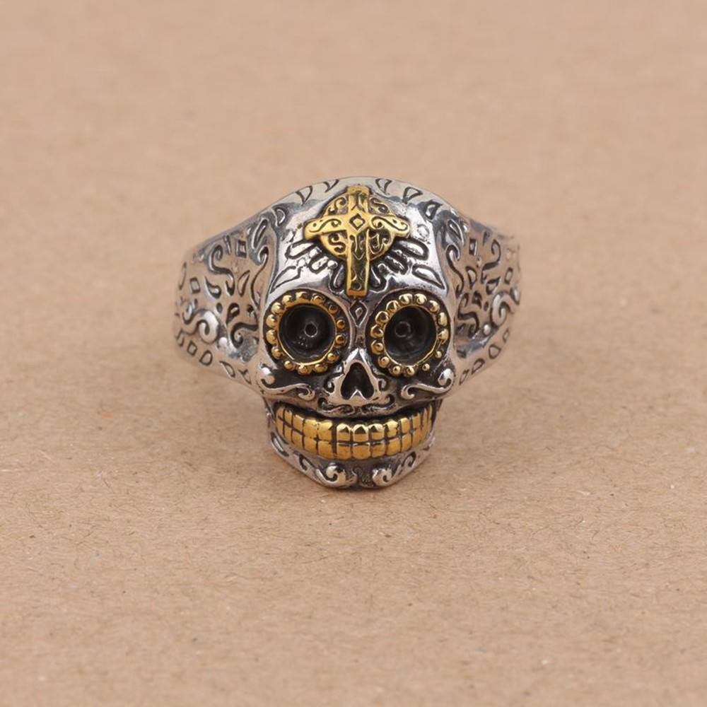 925 Sterling Silver Sugar Skull Ring With Cross Zapps