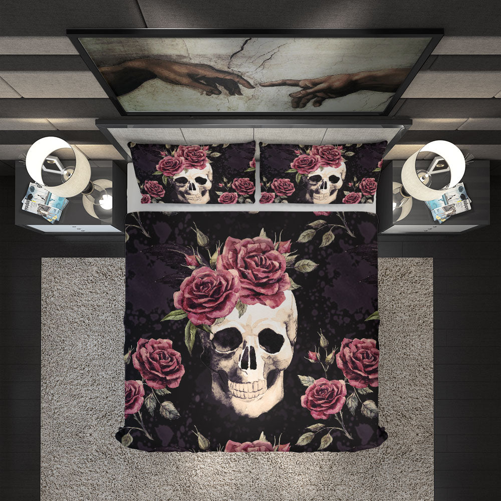 Vintage Skull With Flowers Duvet Cover Set