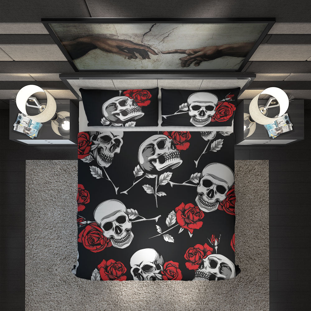 Skullistic Death Rose Black Duvet Cover Set design