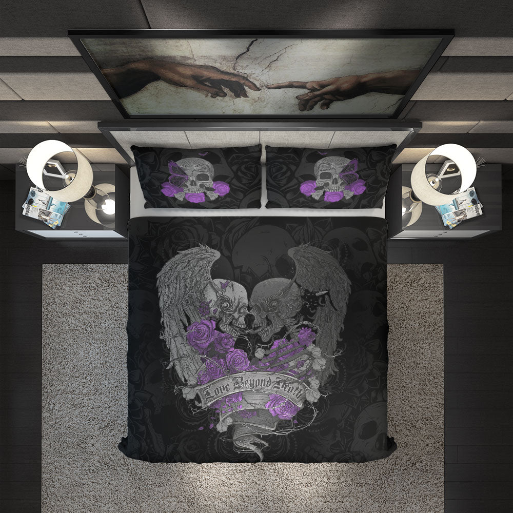 Love Beyond Death Skull Wings Duvet Cover Set design