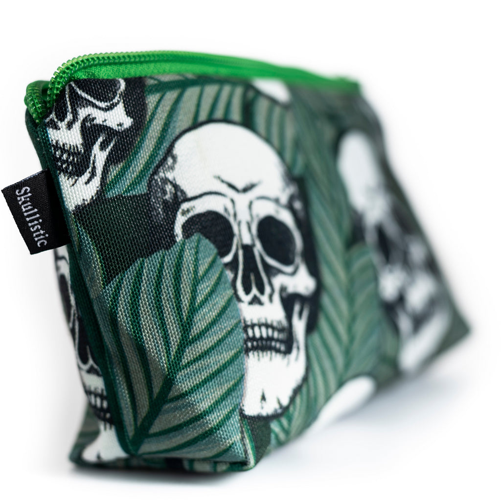 Tropic Skulls Makeup Bag green small