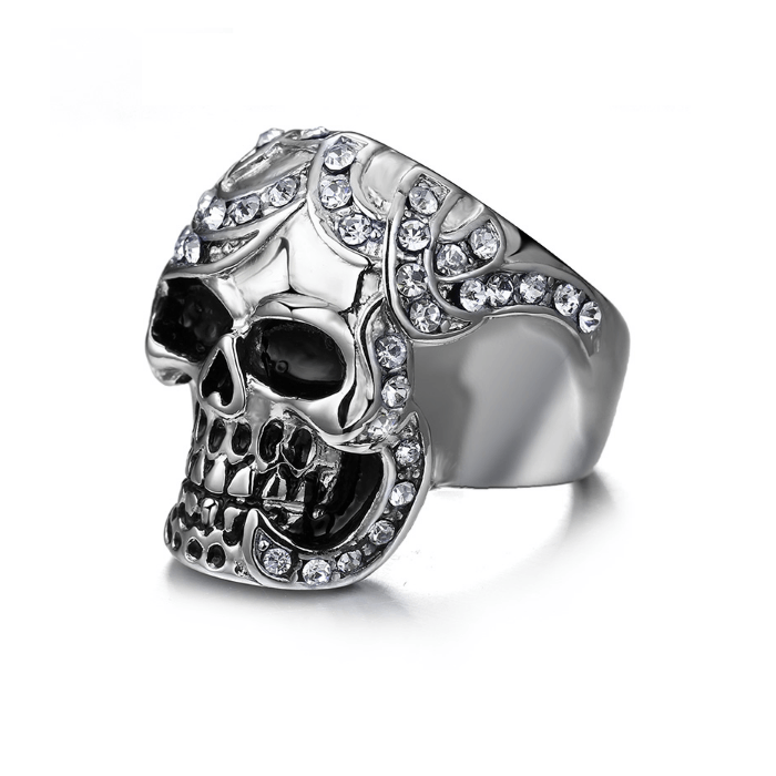 Vintage Silver Diamond Skull Ring