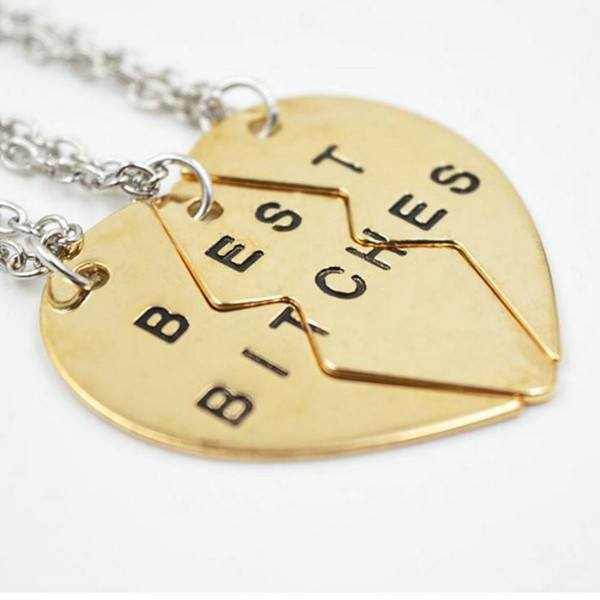 best bitches best friend necklace pendant broken heart gold