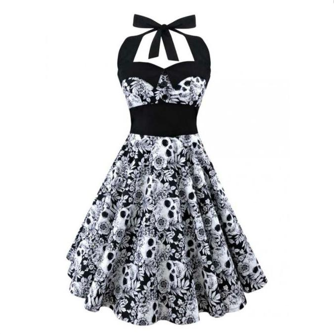 Gothic Bowknot Swing Dress