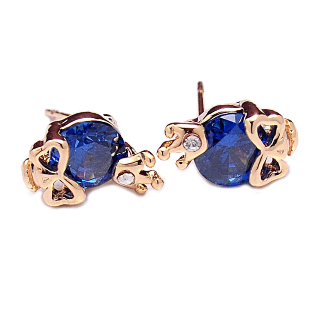 skull crown stud earrings blue