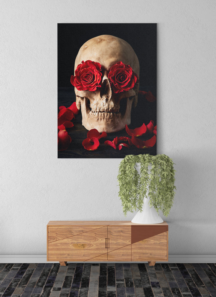 Skull & Roses Canvas Wall Art