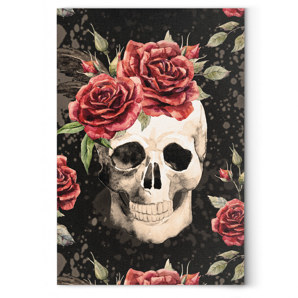 Vintage Flower Skull Canvas Wall Art