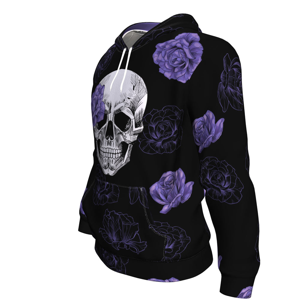 Purple Flower Skull All Over Print Unisex Hoodie
