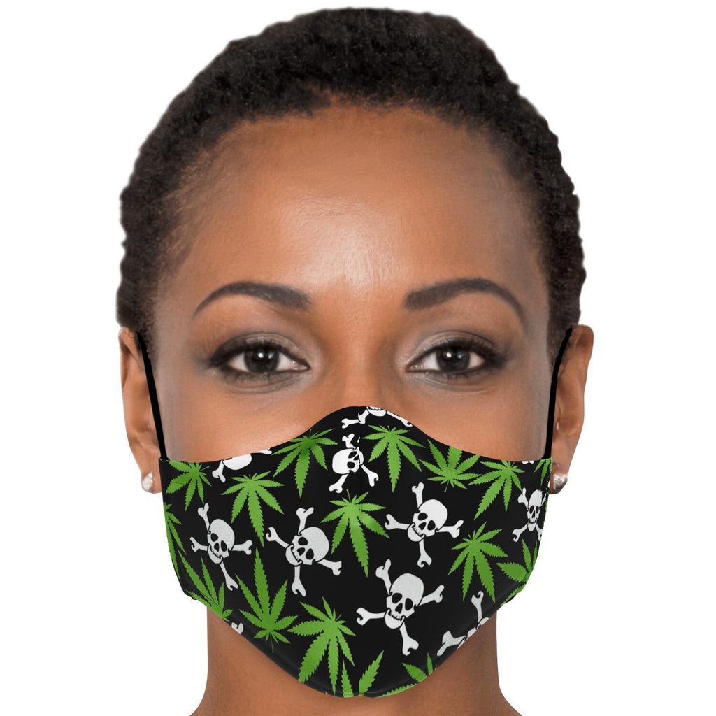 Marijuana Leaves And Skulls Face Mask