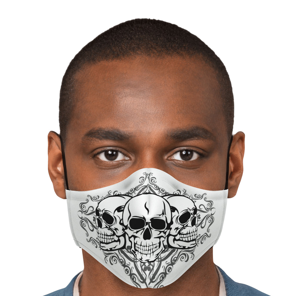 Triple Skull White Face Mask
