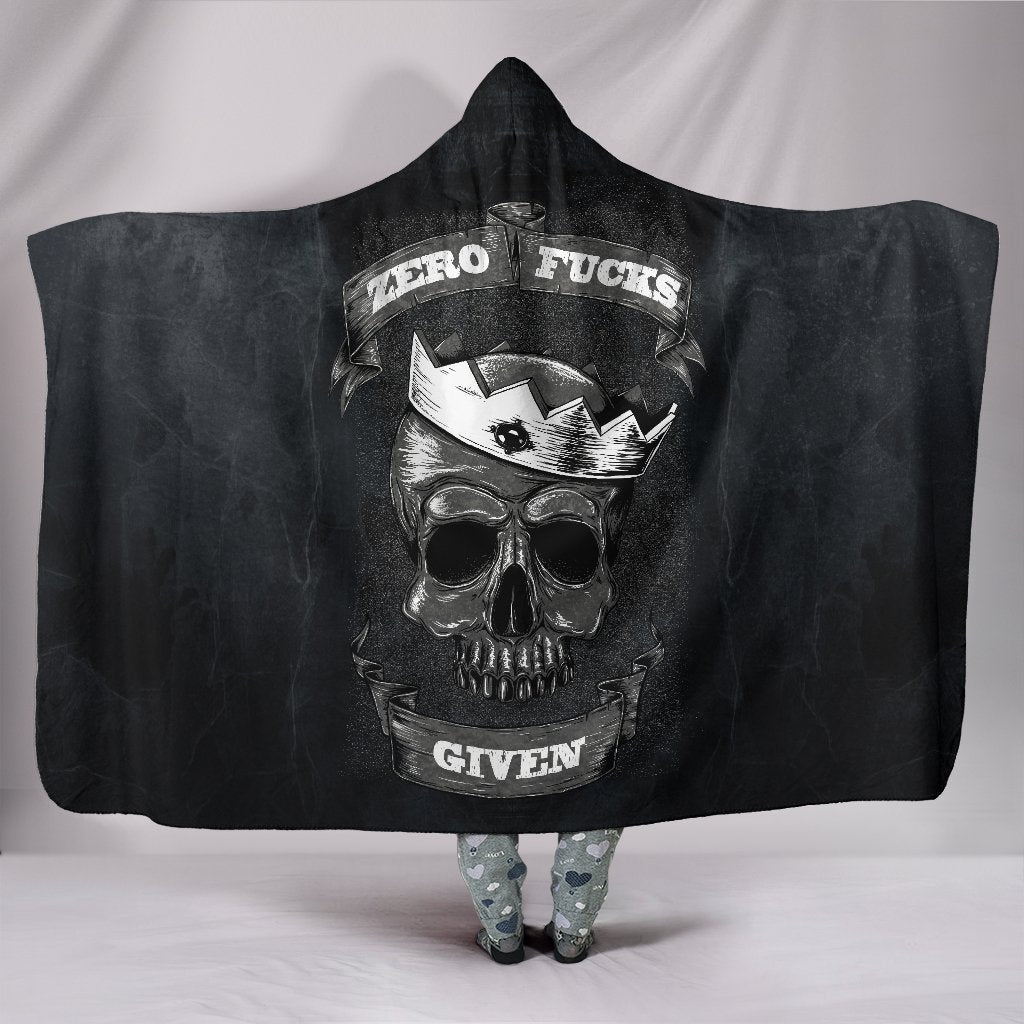Zero F*ck Given Skull Black Hooded Blanket