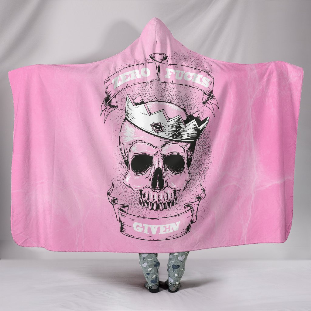 Zero F*ck Given Skull Pink Hooded Blanket