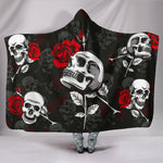Death Rose Skull Hooded Blanket