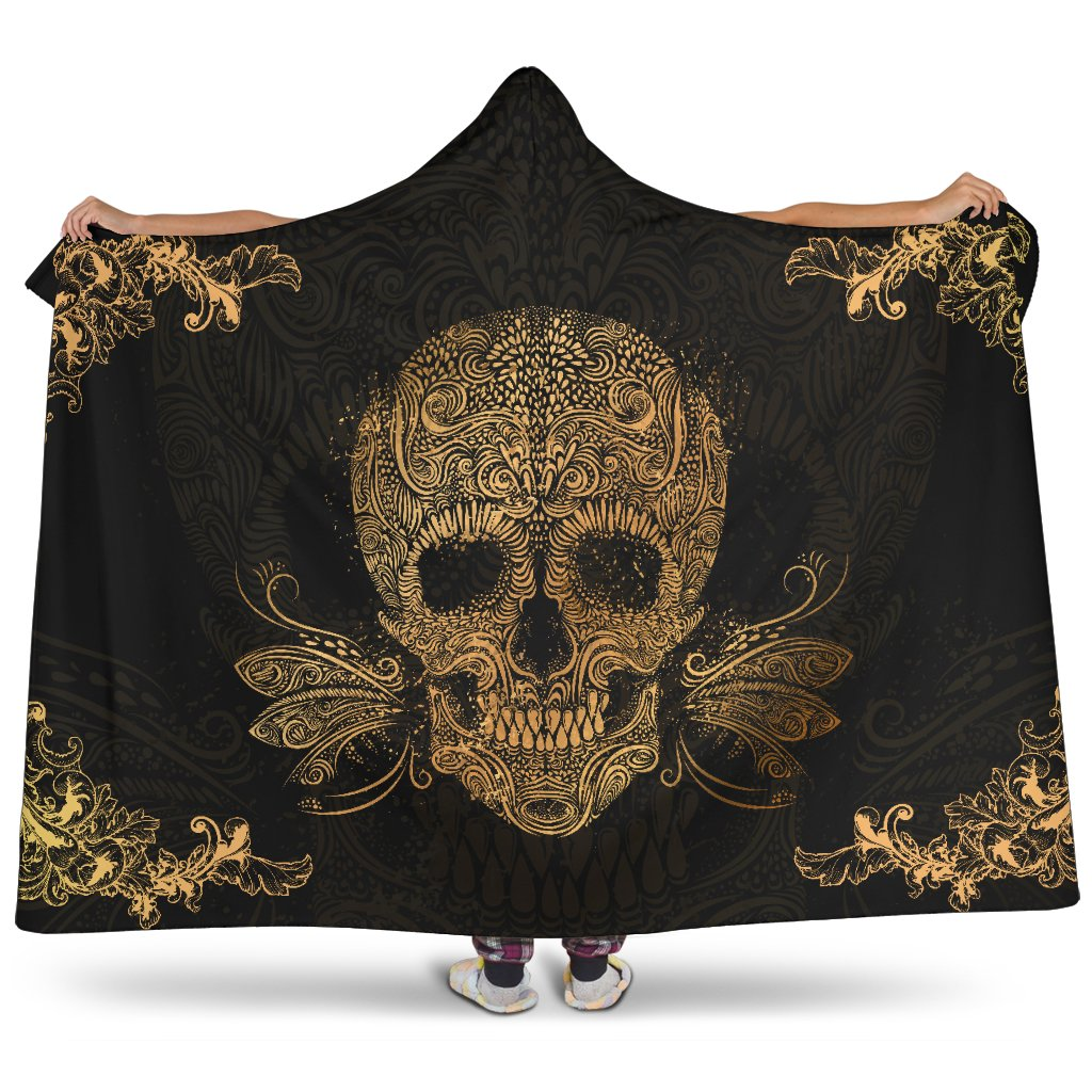 Golden Sugar Skull Hooded Blanket