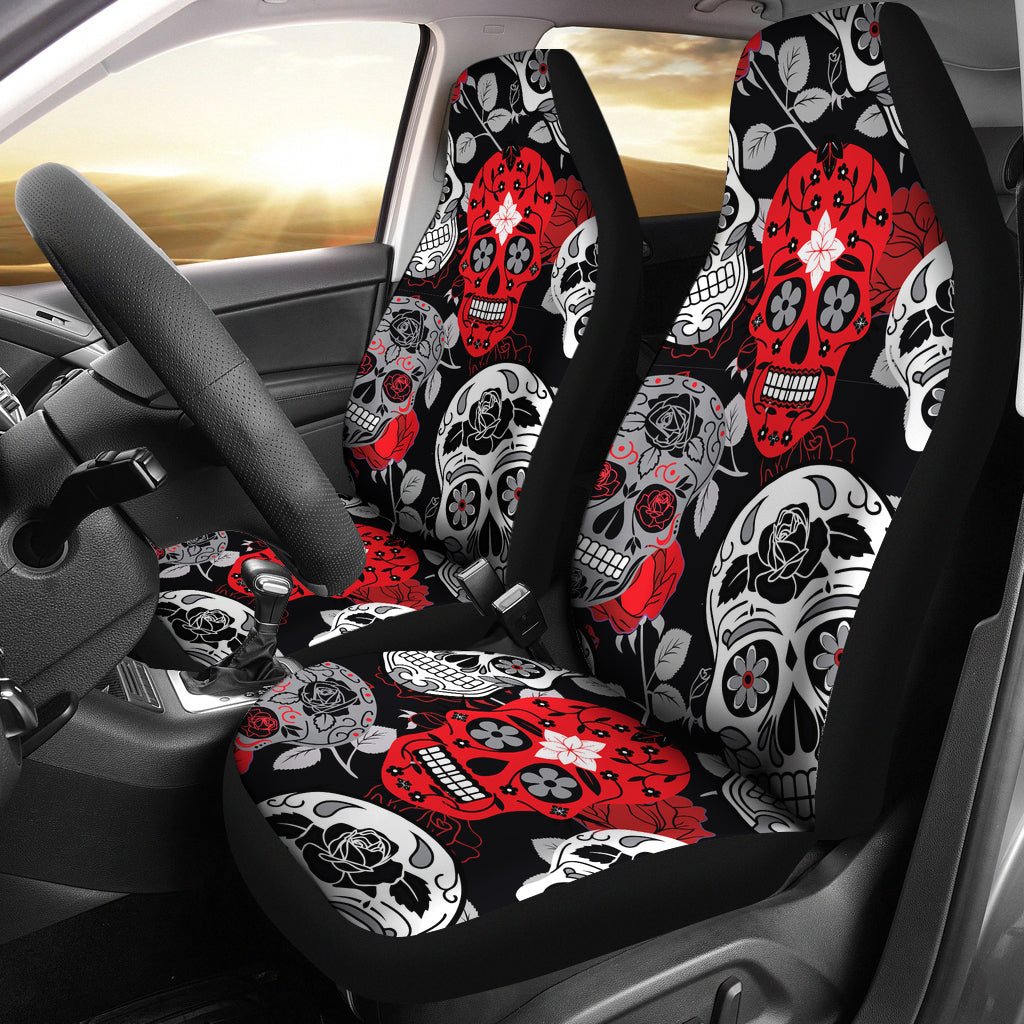 Skullistic Sugar Skulls Red Car Seat Covers