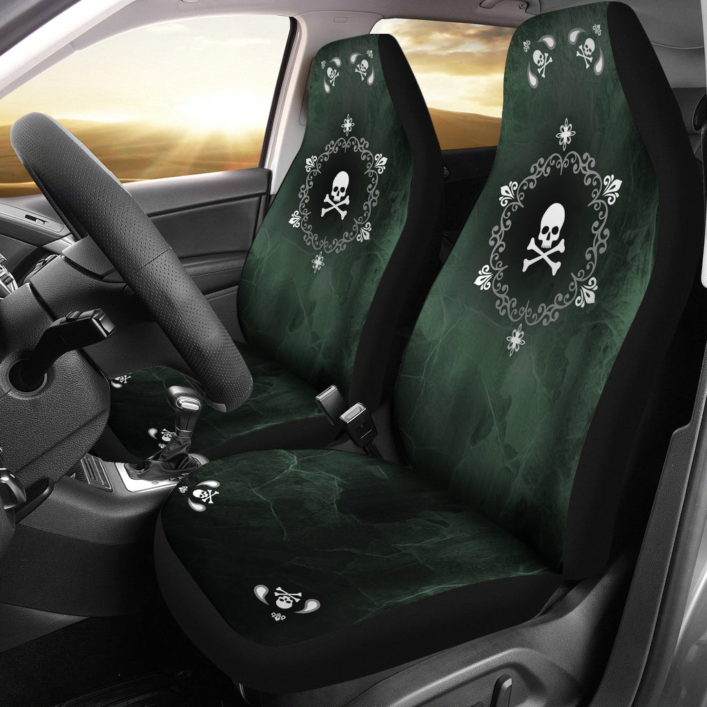 Skullistic Green Mandala Skulls Car Seat Covers