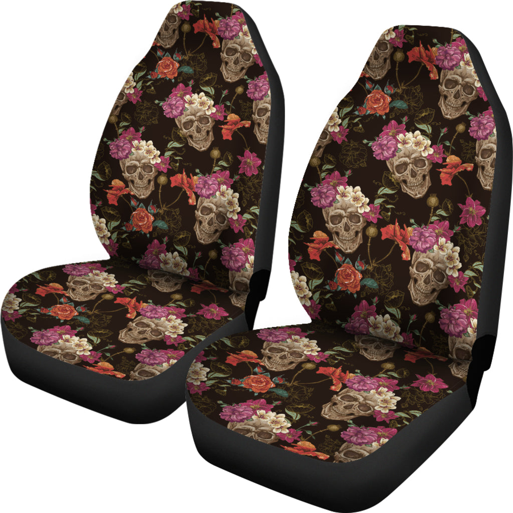 Skullistic Flower Skulls Pattern Car Seat Covers