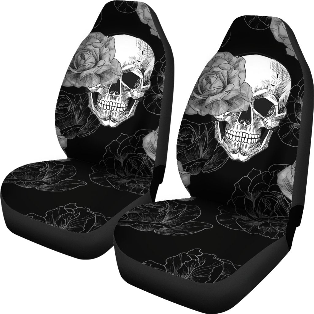 Grey Flower Skull Car Seat Covers