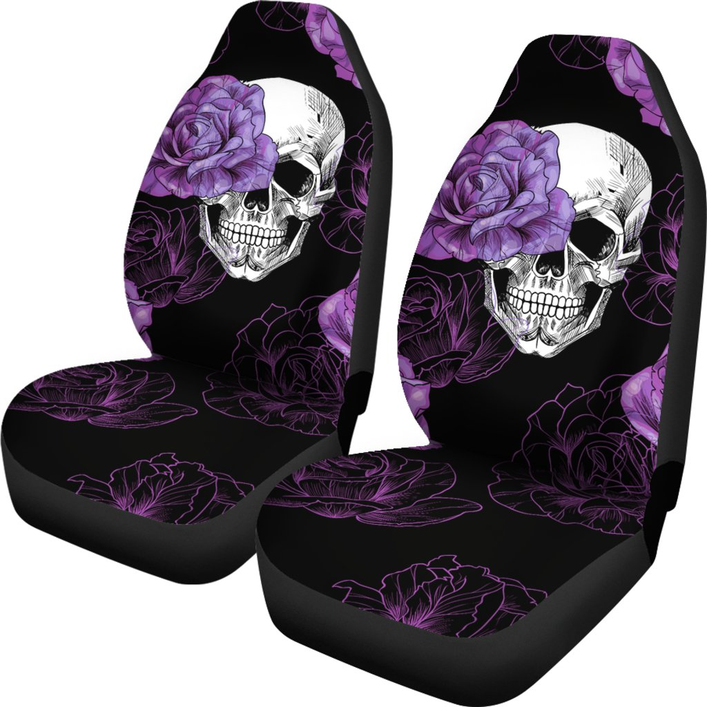 Purple Flower Skull Car Seat Covers