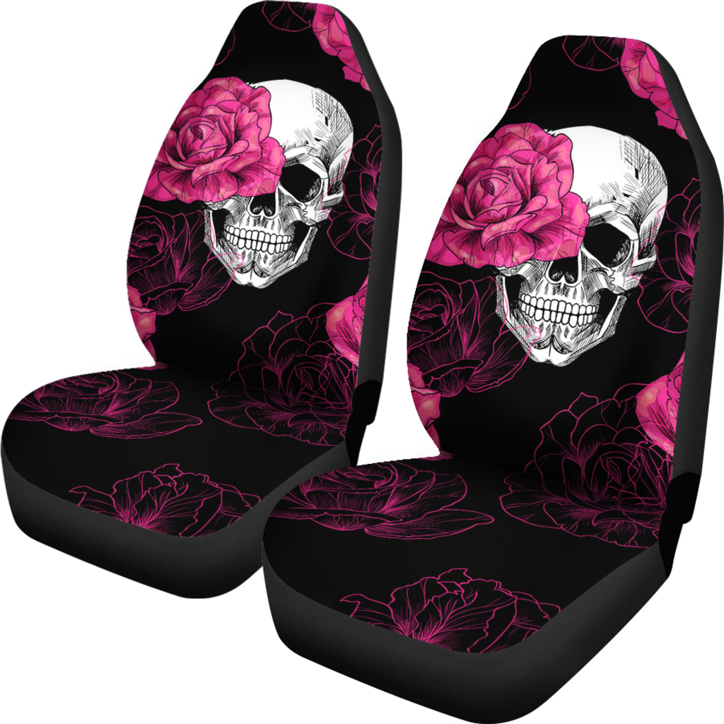 Pink Flower Skull Car Seat Covers