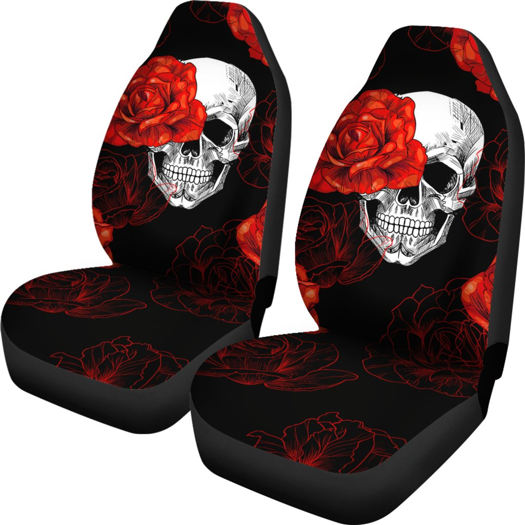 Red Flower Skull Car Seat Covers