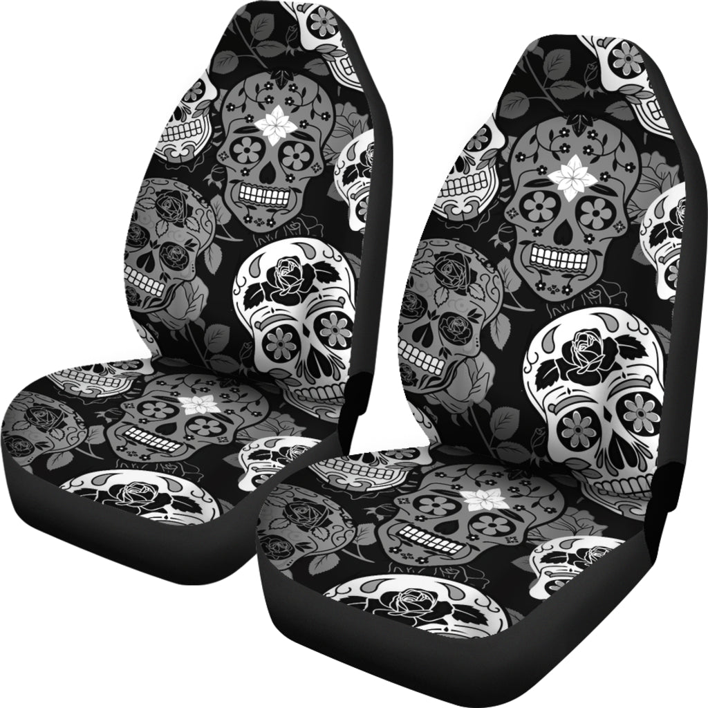 Skullistic Sugar Skulls Grey Car Seat Covers