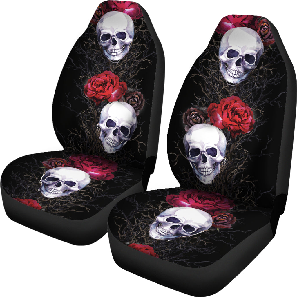 Skulls And Roses Car Seat Cover
