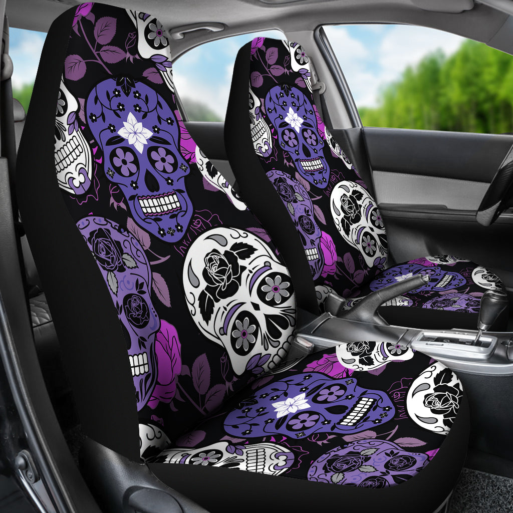 Skullistic Sugar Skulls Purple Car Seat Covers