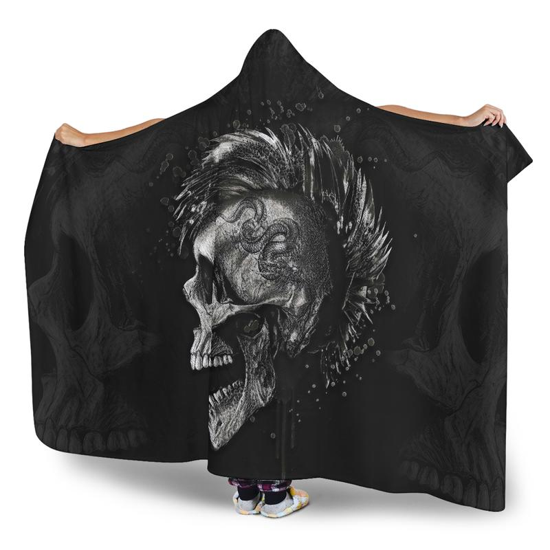 Punk Skull Hooded Blanket