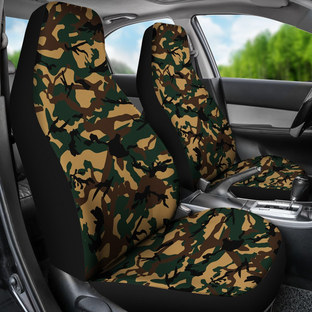 Green Woodland Camouflage Car Seat Covers