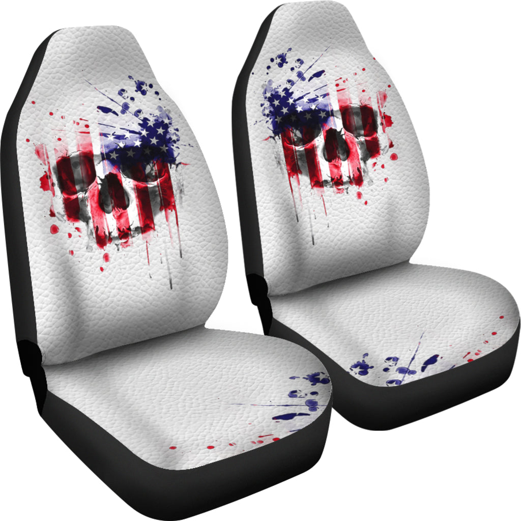 USA Flag Skull Car Seat Covers