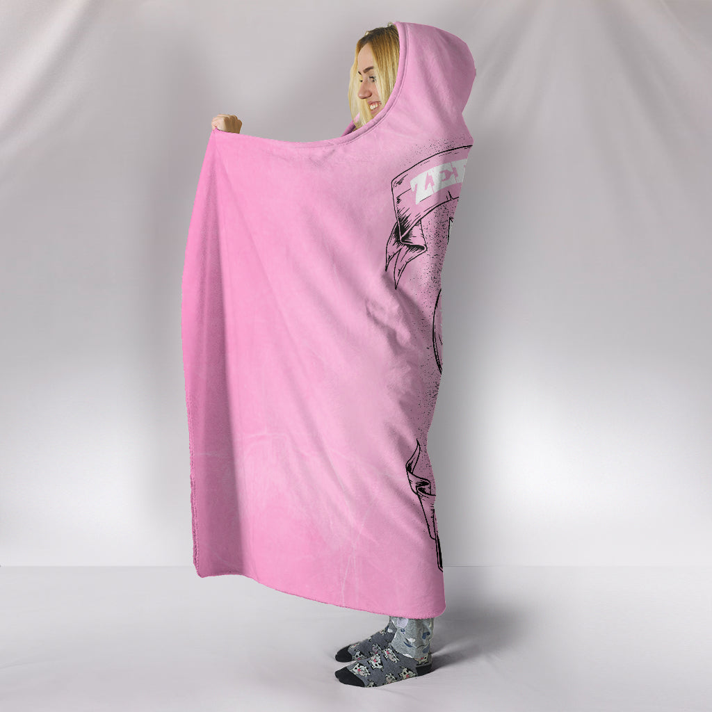 Zero F*ck Given Skull Pink Hooded Blanket pillow