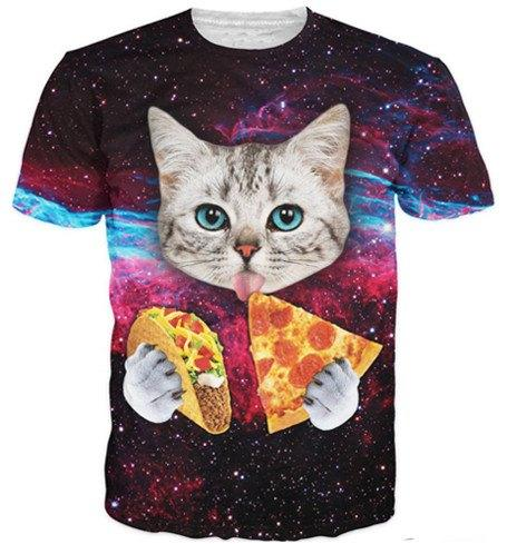 galaxy cat eating pizza taco t shirt front