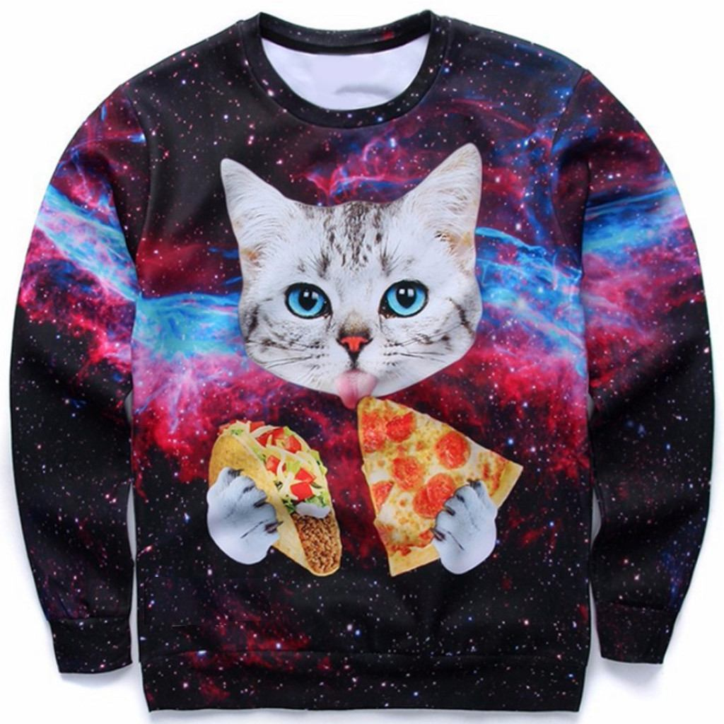 Galaxy Cat Eating Pizza Amp Taco Sweater Zapps Clothing