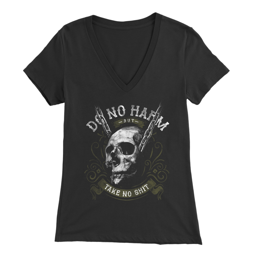Do No Harm Skull Apparel Womens V-neck