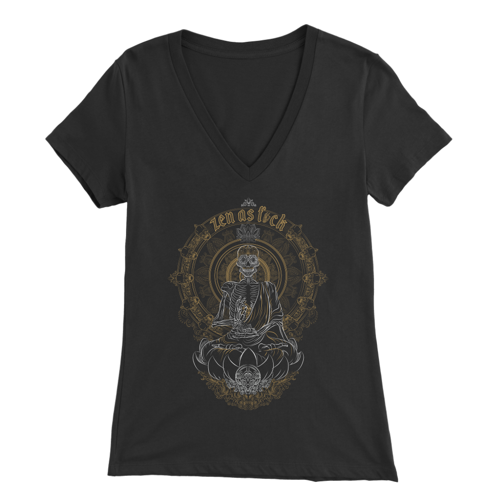 Skullistic Zen Meditating Skeleton V-neck T-shirt