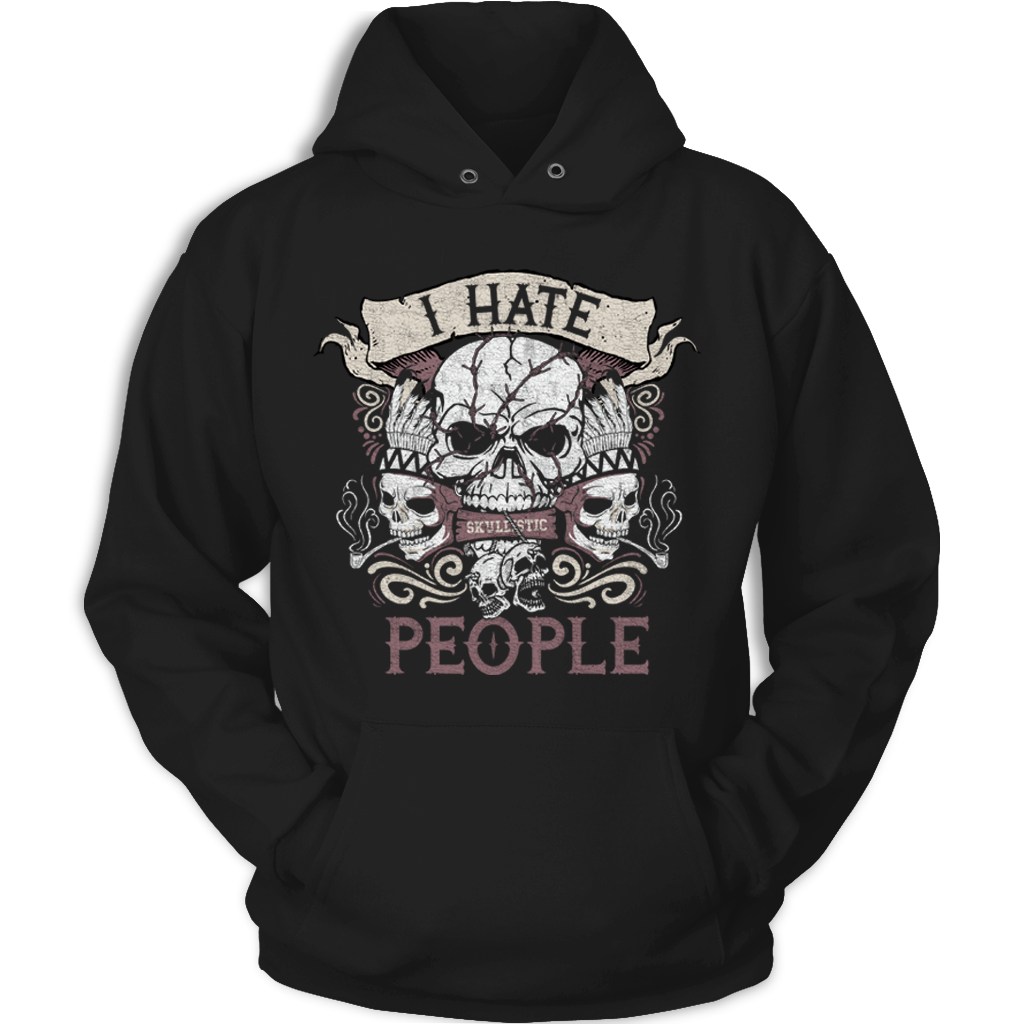 Skullistic I Hate People Black Unisex Hoodie