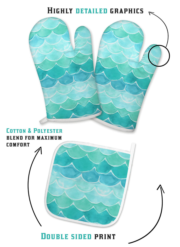Mermaid Scales Oven Mitts And Pot Holder Set