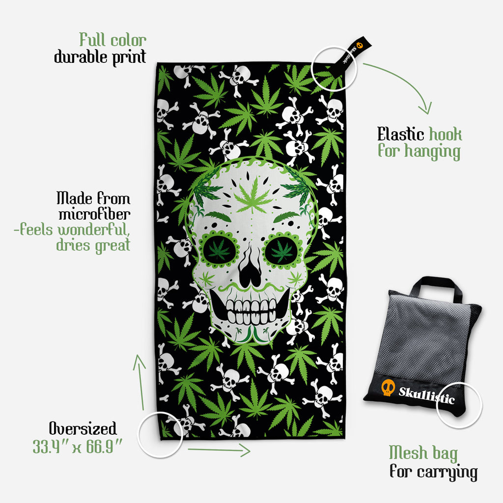Ganja And Skulls Towel