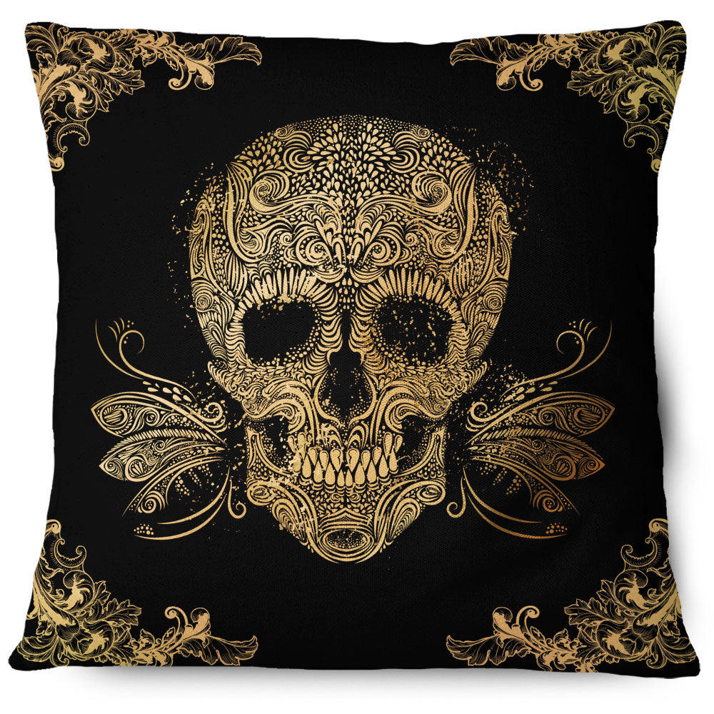 Golden Sugar Skull Pillow Cover