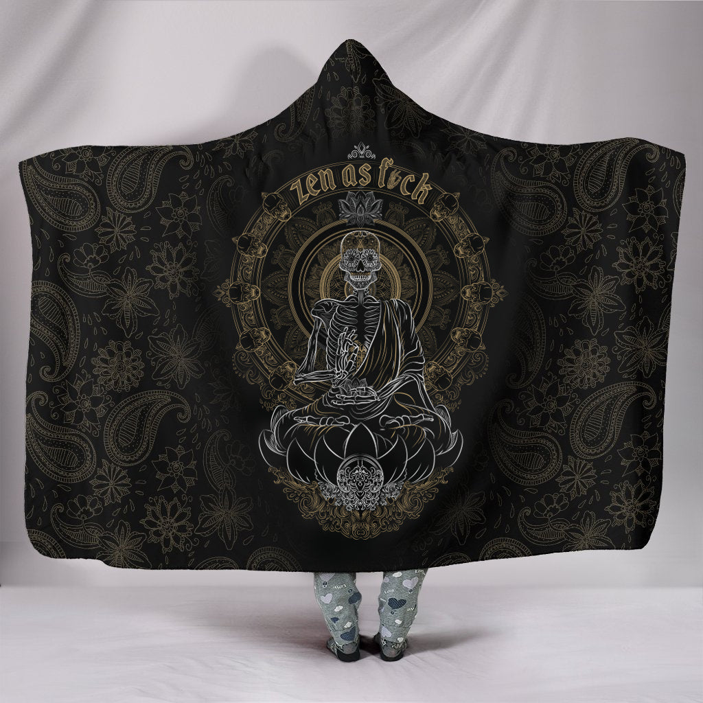 Skullistic Zen Meditating Skeleton Hooded Blanket