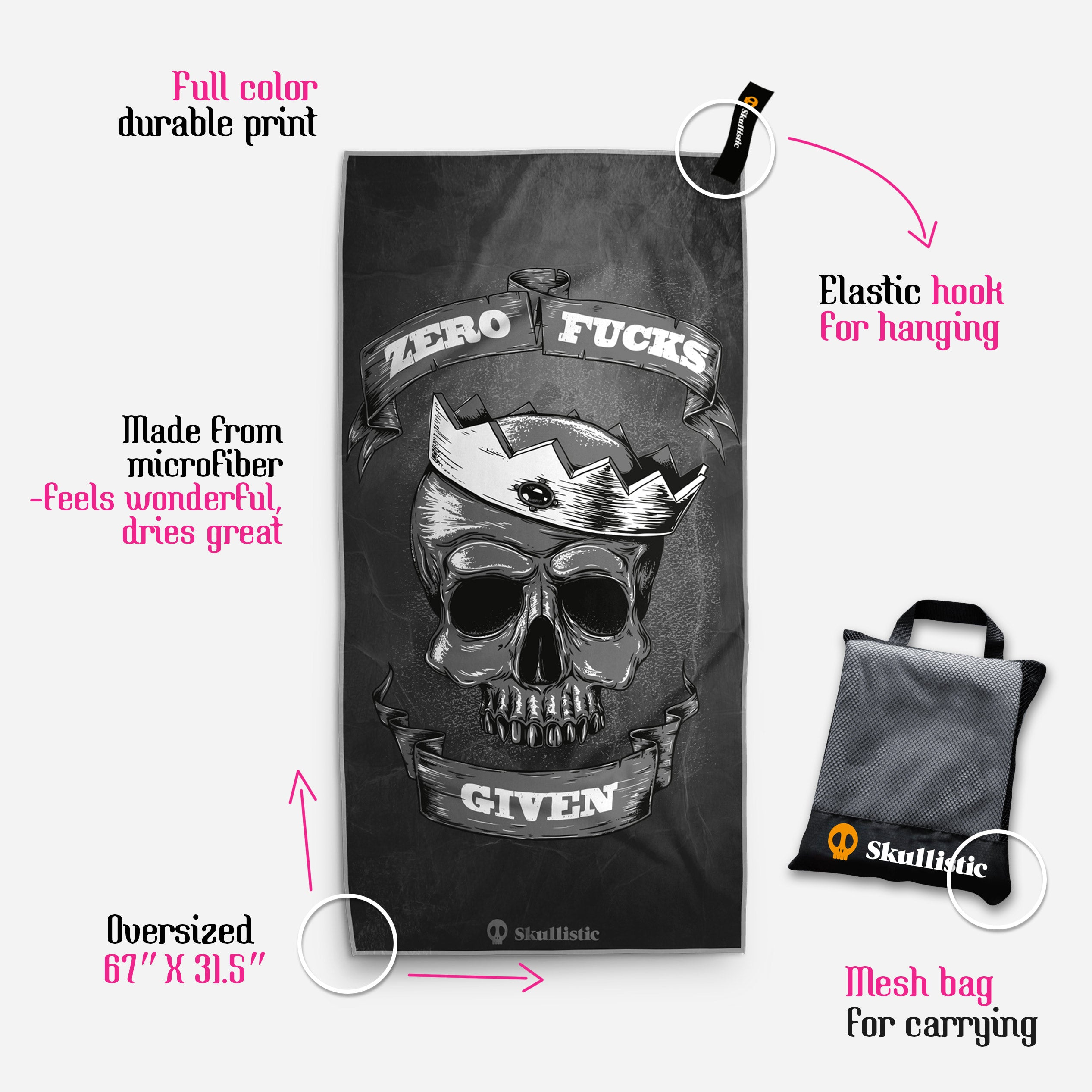 Zero Crowned Skull Hot Pink Towel
